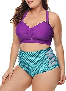 Womens Plus Size Strappy Push Up High Waisted Bikini Bathing Suits