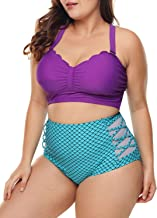 Dearlove Womens Plus Size Strappy Push Up High Waisted Bikini Bathing Suits
