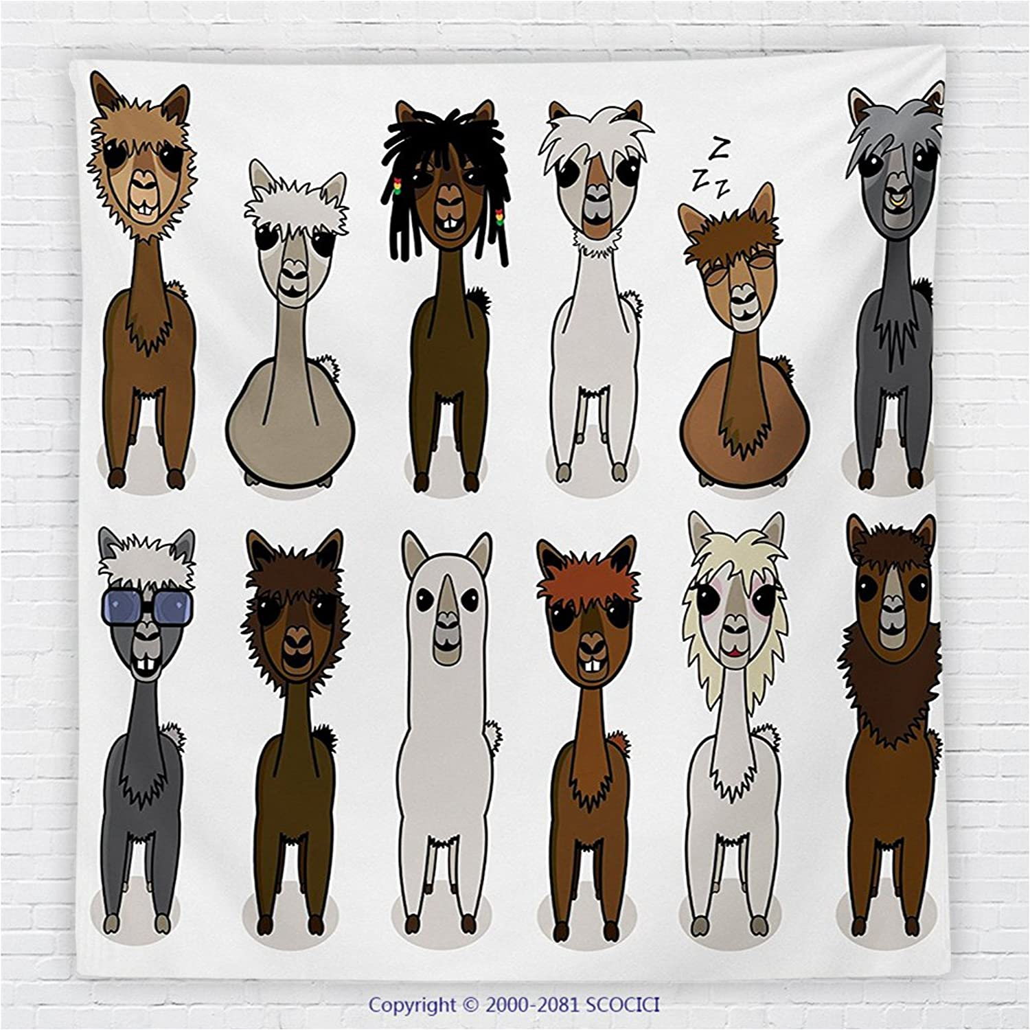 59 x 59 Inches Cartoon Decor Fleece Throw Blanket Charismatic Cool Fashion Alpacas with Different Hairs Animal Fiction Comic Artwork Blanket Brown Grey