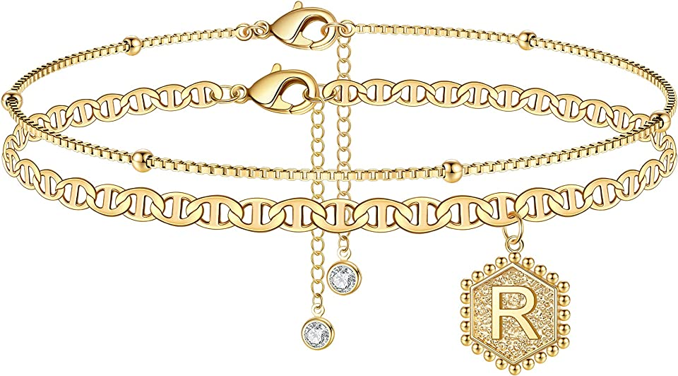 Turandoss Ankle Bracelets for Women Initial Anklet, 14K Gold Plated Handmade Layered Box Chain Flat Mariner Hexagon Anklet Letter Initial Ankle Bracelet for Women Gold Summer Beach Foot Jewelry Gifts