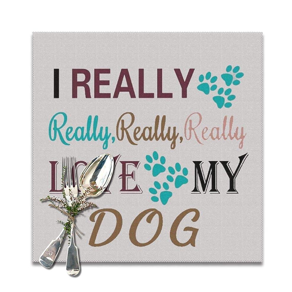 無意味ハイキング離れて私は本当に本当に本当にテーブルのために私の犬のプレースマットを愛し、6の洗えるプレースマットセット、12×12インチ