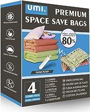 Amazon-merk - Umi gemengde combo van premium vacuüm compressie ruimtebesparende zakken met handpomp 1 Jumbo 1 grote 1 medi...