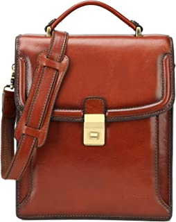 Banuce Small Full Grains Italian Leather Messenger Bag for Men Shoulder Crossbody Bag Business 9.7