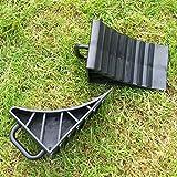Car Wheel Chocks Rubber Reversing Slip Pads Stoppers - Black (2 pcs)