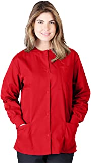 Natural Uniforms Women's Warm Up Jacket Medical Scrub Jacket (XS to 5XL) (Medium, Red)