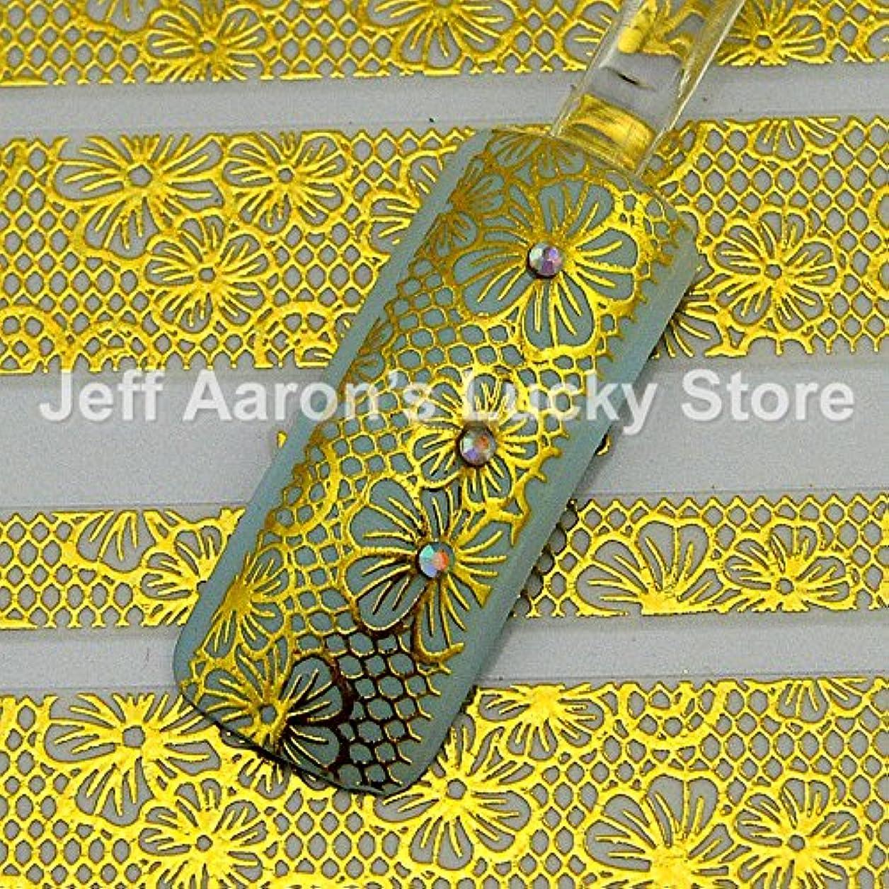 化学合図広告するIthern(TM)5PCS /ロット美しさの花のレースの設計金黒ネイルステッカーネイルアートの装飾マニキュアツール#018デカール