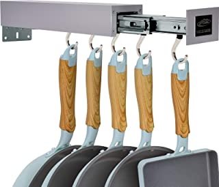 SOLEJAZZ Pot Holder Bar Support pour ustensiles de cuisine Cintre pour ustensiles de cuisine avec 5 crochets réglables, or...
