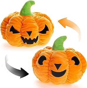 Reversible Pumpkin Plush, Cute Halloween Mood Switch Stuffed Animal Throw Pillow Doll, Soft Plush Fluffy Friend Hugging Decoration - Present for Halloween