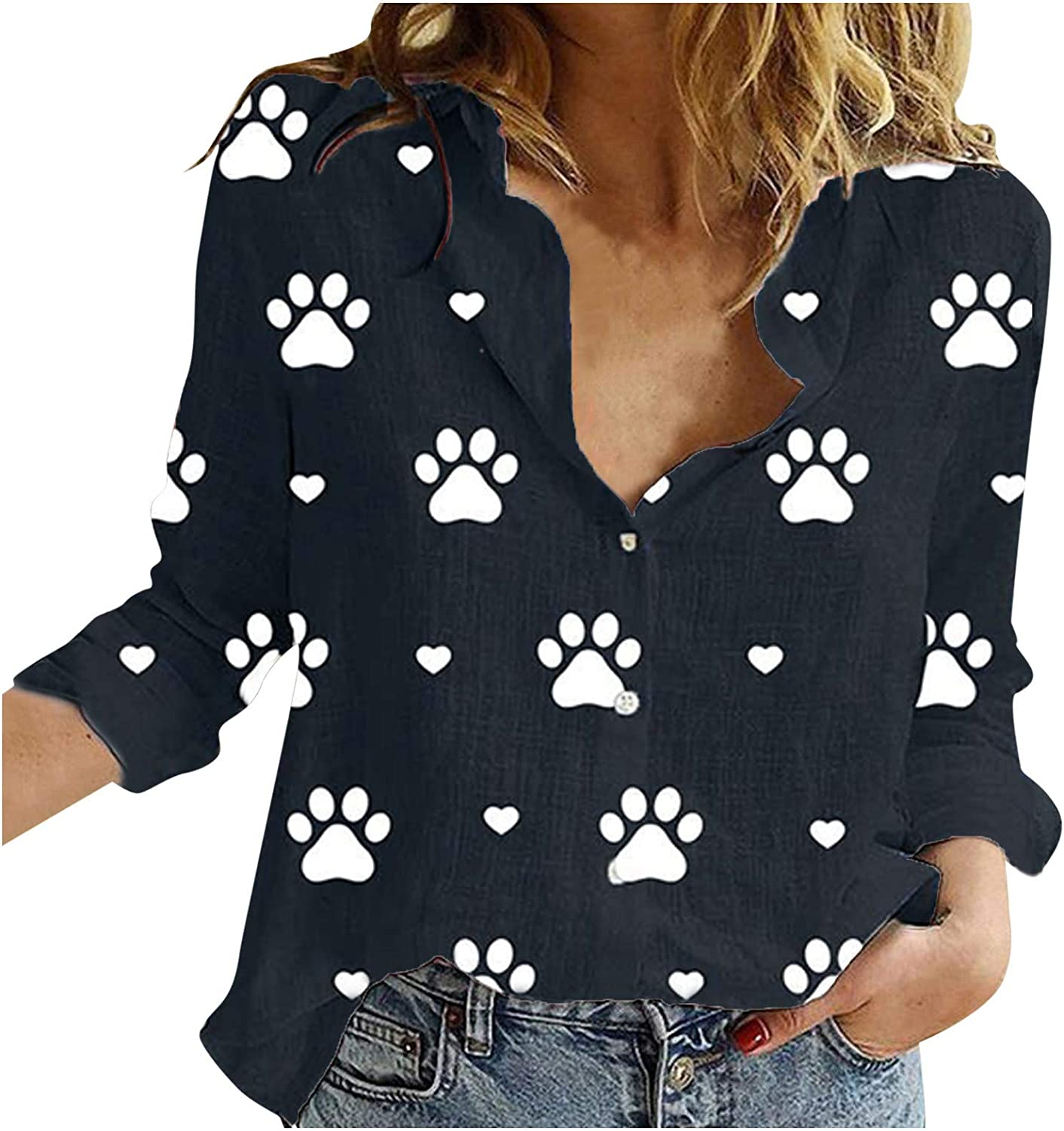 MASZONE Sweatshirts for Women, Womens Button up T-Shirt Cute Bear Paw Print Long Sleeve Pullover with Designs Casual Top