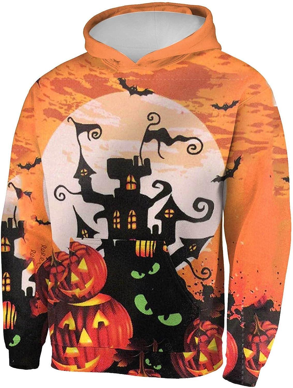Men's Halloween Casual Loose Long Sleeve Hoodies Sweatshirt 3D Full Printed Novelty Pullover Tops Blouse