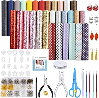 Caydo 30 Pieces Leather Earring Making Kit Include Instructions, 5 Style Faux Leather Sheet, Templates and Complete Tools for Earrings Making Supplies