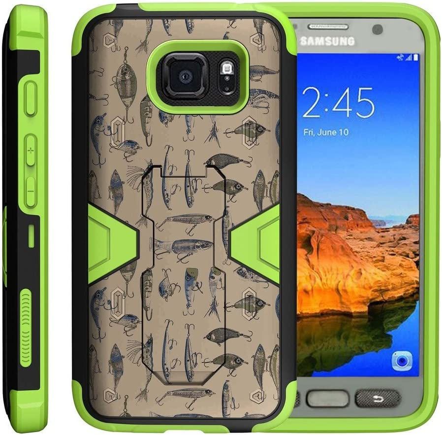 TurtleArmor | Compatible with Samsung Galaxy S7 Active Case | G891A [Clip Caliber] Heavy Duty Holster Belt Clip Armor Dual Layer Kickstand Impact Silicone Green Designs - Fishing Hooks