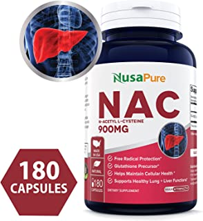 N-Acetyl Cysteine (NAC) 900mg 180caps (Non-GMO & Gluten Free) Liver Support, Detoxification, and Immune Function - Amino Acids to Support Antioxidant Defense