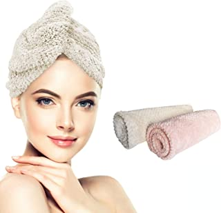 RAINbows Microfiber Hair Towel Wrap for Women, Super Absorbent Quick Dry Hair Turban with button for Drying Curly, Long, T...