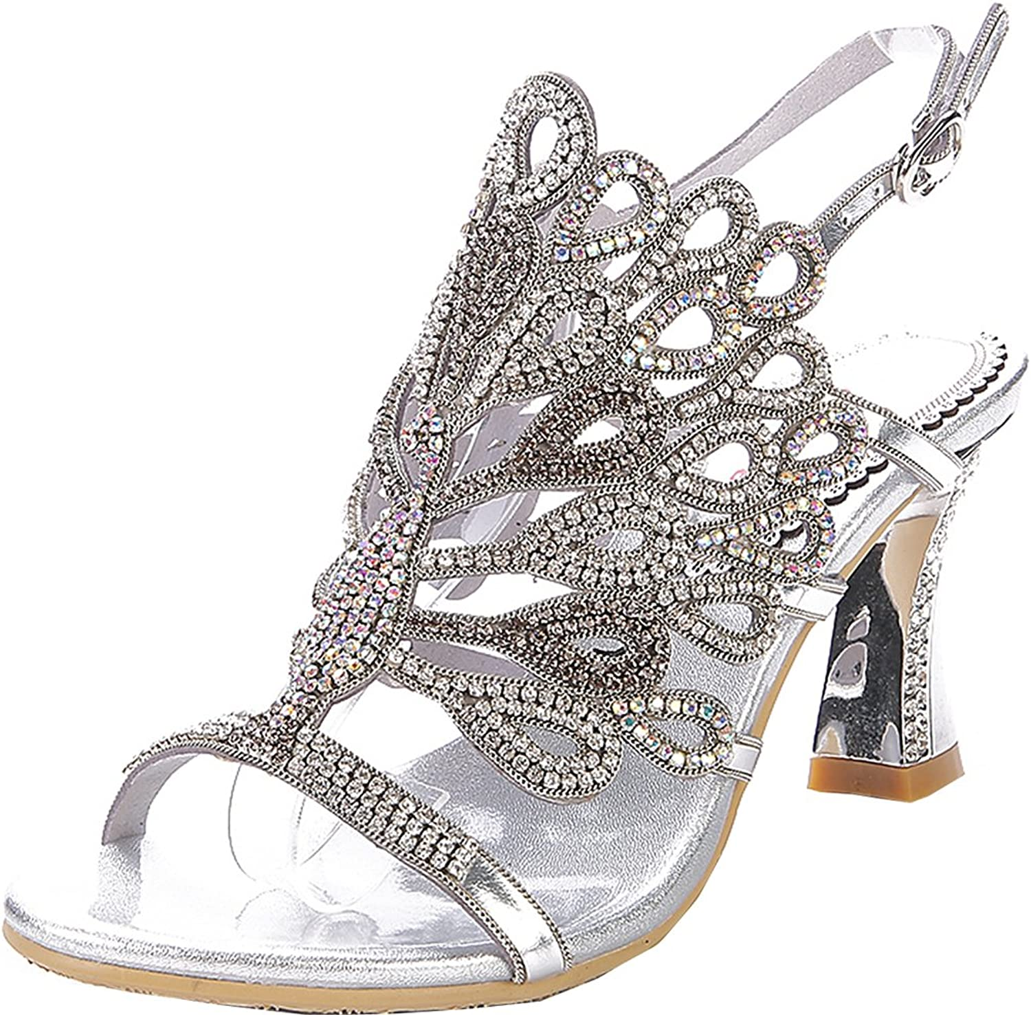 Abby Womens Sexy Unique Wedding Bride Show Comfort Surprising Fashion Leather Mid Heel Sandals
