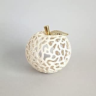 Ceramic Candle Holder Apple With Golden Leaf, Ceramic Tealight Holder, Handmade Pottery Lantern, Elegant Home and Patio Decor