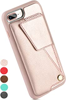 ZVEdeng iPhone 7 Plus Case, iPhone 7 Plus Wallet Case, iPhone 8 Plus Wallet Case, iPhone 8 Plus 7 Plus Case with Card Holder for Women Shockproof Leather Protective Cover-Rose Gold