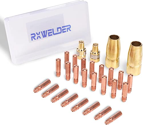 """RX WELD 28PCS MIG Welding Gun Accessory Kit .030"""" for Miller Millermatic M-100/150 Hobart H-9/10 Tip-Nozzle-Diffuser Box Included"""