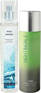 Ajmal Wild Waters EDT of 250ml & Nightingale Deodorant 200ml Combo pack of 2 (Total 450ML) for Men & Women + 4 Parfum Testers