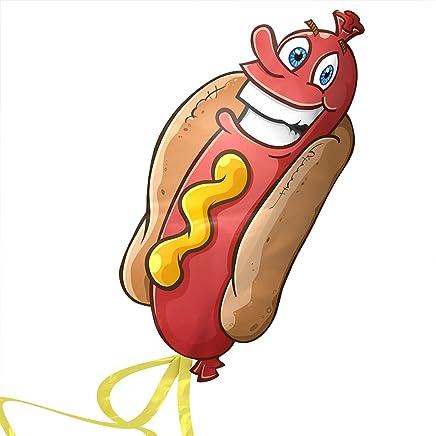 Kite Cometa Hot Dogs para Niños - despega a la más leve brisa - Lo mejor para Juegos de Playa - alta durabilidad - Cadena libre, carrete y libro electrónico - Fácil Flyer Con la garantía de por vida …
