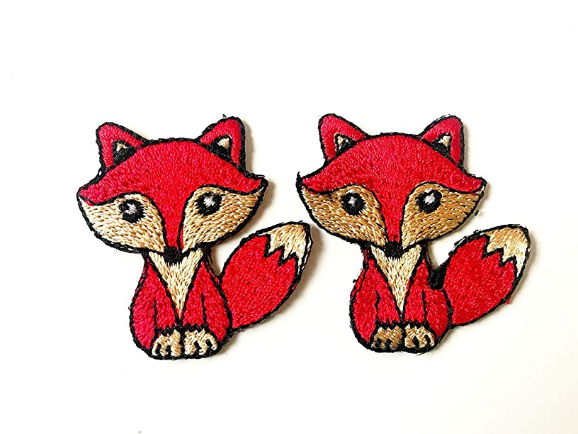 Tyga_Thai Brand Set 2 pcs. Mini Cute Little Red Fox Jacket T-Shirt Sew Iron on Embroidered Applique Badge Sign Patch (Iron-Mini-RED-Fox)