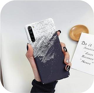 Wvnkx for Xiaomi for Redmi Note 8 Pro 7ケースの大理石ケースfor Xiaomi Mi 9 8 Liteの超薄型亀裂花崗岩パターンハードPCマットカバーケース-T5 Black and white-for Redmi Note 7