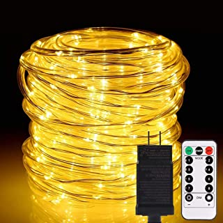 ALOVECO LED Rope String Lights Outdoor, 72ft 336 LEDs String Lights 24V Plug in Rope Lighting Extendable Remote Dimmable 8...