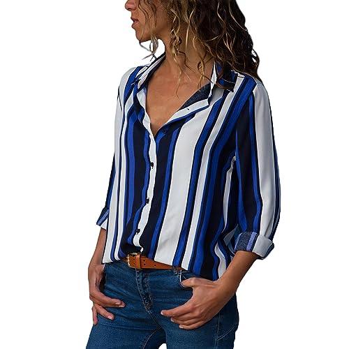 af8f7b201943da Happy Sailed Womens Long Sleeve V Neck Button Up Color Block Stripes Blouses