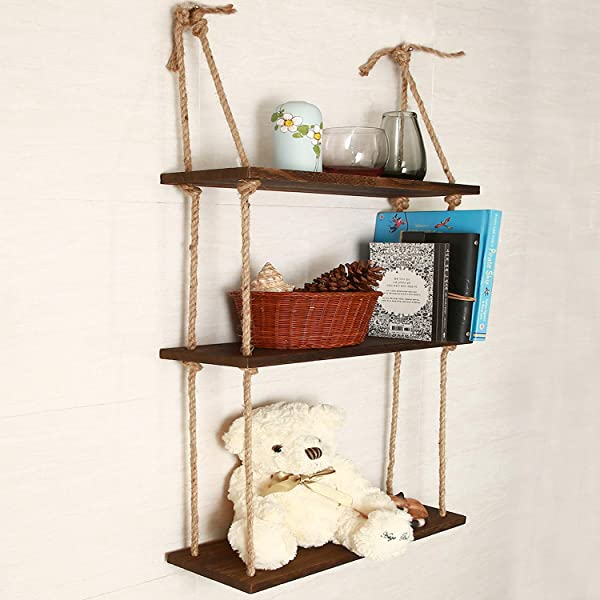 KINJOEK 3 Tier Hanging Shelf Wall Floating Swing Storage Shelves Jute Rope Organizer Rack Handmade Shelves Brown