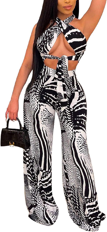 Ekaliy Women's 2 Piece Multi Wear Outfits Sexy Halter Neck Criss Cross Backless Crop Top Wide Leg Pants Set Clubwear