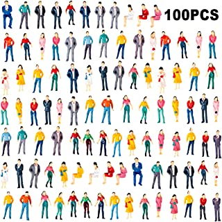 Yamix Model Train Figures, 100Pcs 1:50 Scale Painted Model Train People Figures Sitting and Standing People for Miniature Scenes Train Railway Sand Table