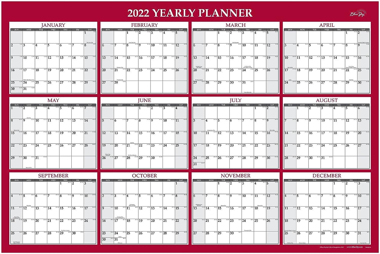 Blue Sky 2022 Laminated Erasable - Wall Calendar January Popular brand D Chicago Mall