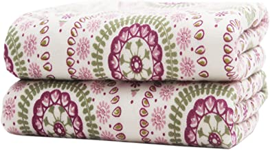 Pidada Hand Towels Set of 2 Ethnic Paisley Pattern 100% Bamboo Fiber Absorbent Soft Hand Towel 13 x 31 Inch (Pink)