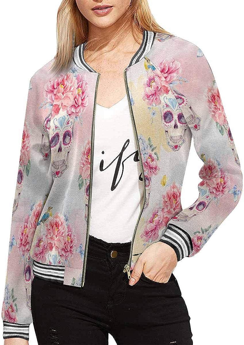 InterestPrint Women's Long Sleeves Zippered Pockets Jacket