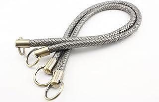 Asas de piel sintética de ganchillo de 63,5 cm, asas para bolsos y bolsos de mano, para hacer monederos, reemplazo de manga, un par (2 unidades) por lote Anti bronze hardware plata