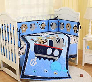 Spring Baby Crib Bedding Set 7 Piece Nursery Crib Bedding Set for Baby Boys, Including Comforter, Crib Sheet, Crib Skirt, Bumpers (Blue Nautical Animals - 7 Piece)