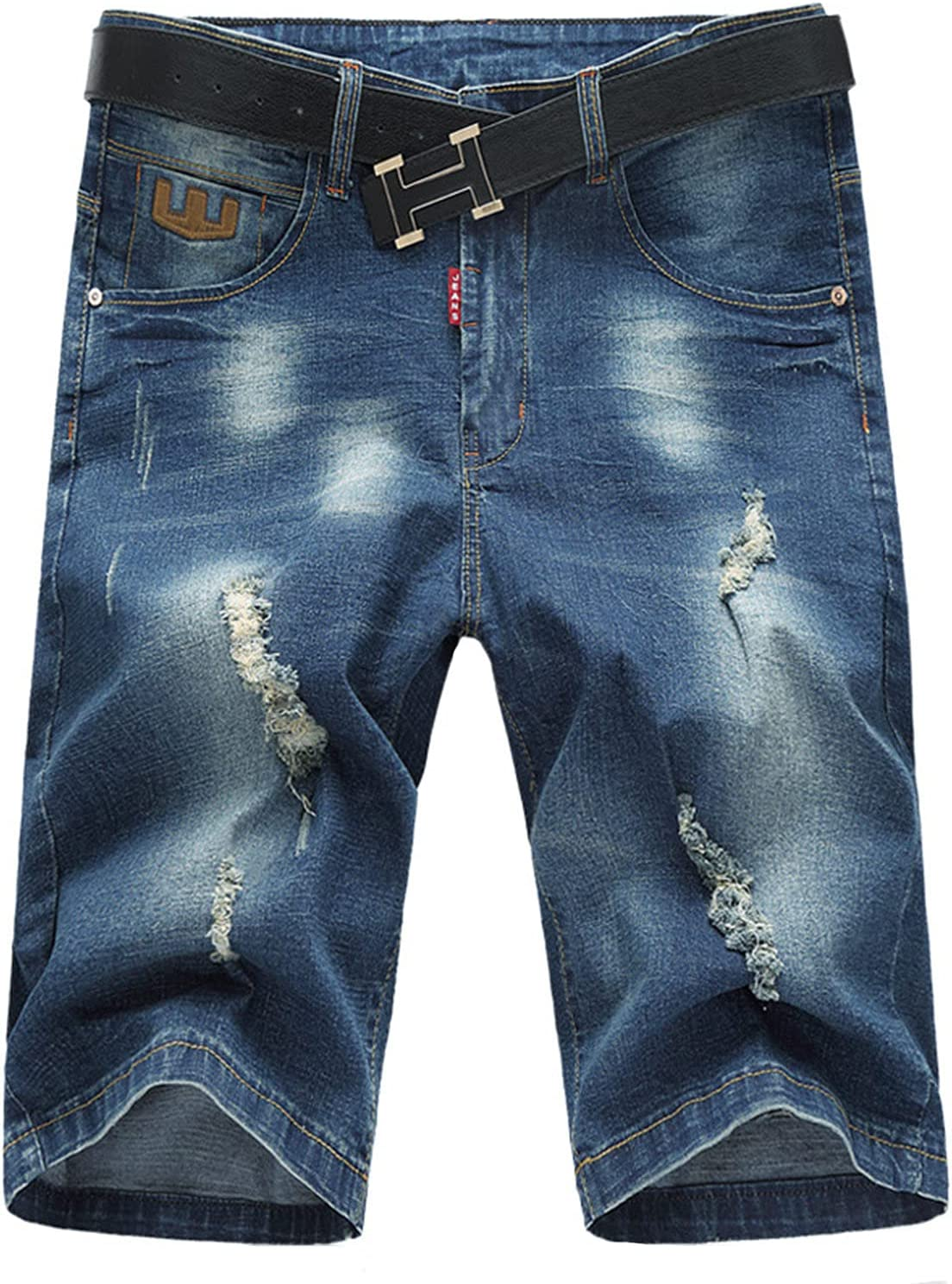 Men's Stretch Ripped Denim Shorts Summer Hole Casual Short Jeans Distressed Slim Fit Knee Length Jean Short-Pant (Blue,40)