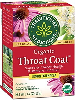 Traditional Medicinals Organic Throat Coat Lemon Echinacea Seasonal Tea (Pack of 1), Supports Throat Health & Immune Funct...