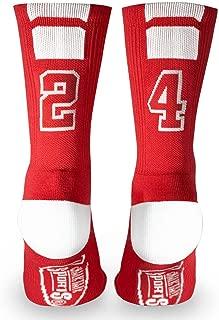 Custom Team Number Crew Socks | Athletic Socks by ChalkTalkSPORTS | Red | Choose Your Number