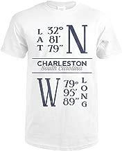 Charleston, South Carolina - Latitude and Longitude (Blue) 66820 (Premium White T-Shirt X-Large)