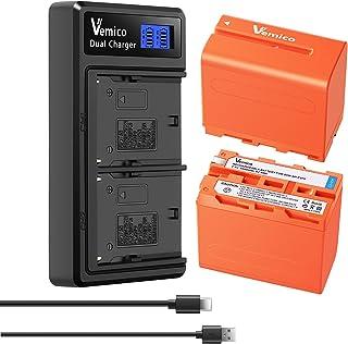 Vemico NP-F970バッテリー LCD付き充電器 2個互換バッテリー 大容量2*8500mAh NP-F330/F530/F550/F570/NP-F730/F750/F770/NP-F930/F950/F960/F970/F990交換...
