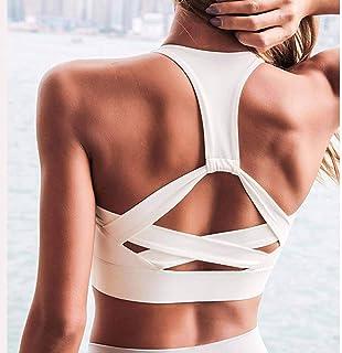 Women White Strap Push Up Sports Bra for Women Gym Running Yoga Top Bra Athletic Vest Hollow Out Sportswear Underwear