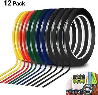 12Pcs Graphic Chart Tape Art Tape Whiteboard Tape Vinyl Tape (3mm Width) 1/8 inch Self-Adhesive Artist Tape (PET) 108 Feet Feet Long per Roll