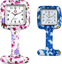 Ladies Girls Nurses Pin-on Fob Brooch Lapel Silicone Protection Cover Square Pocket Watch for Hospital Doctors