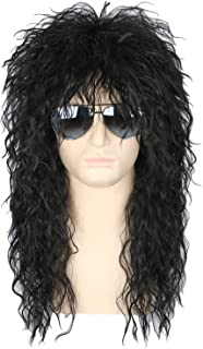 Topcosplay Mens 80s Wig Black Mullet Wigs Halloween Costume Male Wig Punk Heavy Metal Rocker Wig Curly Long