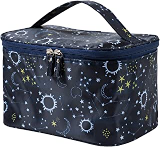 HOYOFO Women Portable Travel Cosmetic Bags with Mesh Pocket Make Up Bags, Starry Sky