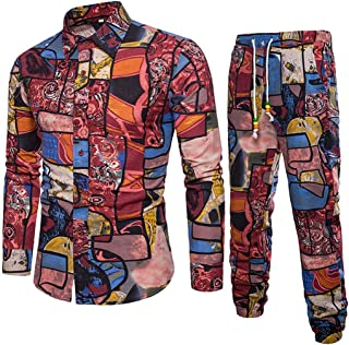 2Pcs Men's Workout Set Long Sleeve Business Slim Fit Printing Shirt Blouse Tops and Pants