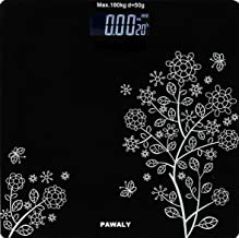 PAWALY Heavy Thick Tempered Glass LCD Display Digital Personal Bathroom Health Body Weight Weighing Scales For Body Weight, Weight Scale Digital For Human Body (Flower Design Bathroom Scale)
