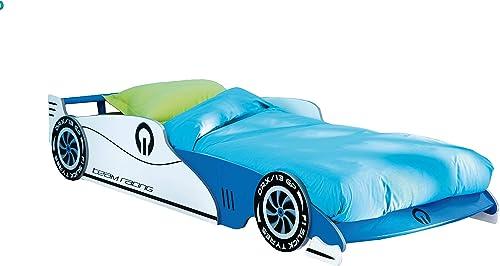 Autobett Leon mit Rollrost 14 Latten Blau 90  200 Kinderzimmer Kinderbett Autorennbett Rennautobett Jugendliege Bettliege Einzelbett Spielbett