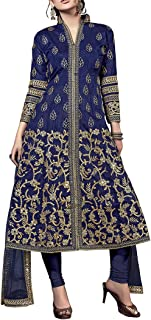 Ethnic Empire Women's Banglory Silk Anarkali Wedding Semi Stitched Anarkali Salwar Suits (New_FlexER11152_Blue_Free Size)